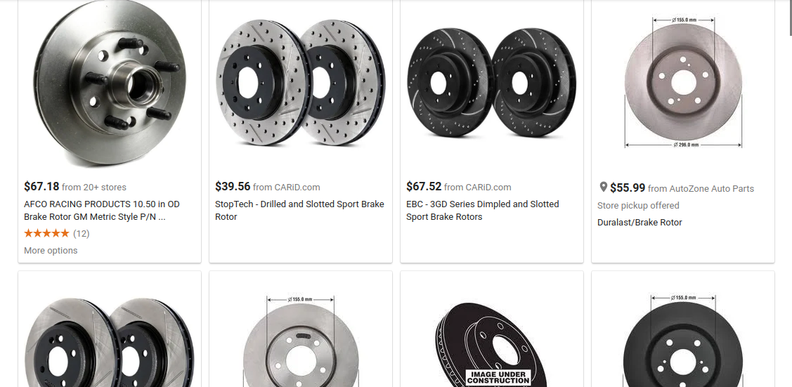 Different Brake Rotor Types slotted drilled smooth