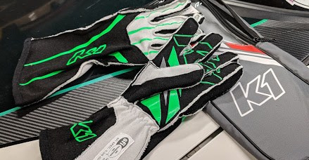 K1 Racegear affordable racing gloves in green