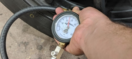 Tire Pressure Gauge on Spec Miata Racecar