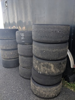 Stack of Hoosier and Toyo Racing tires
